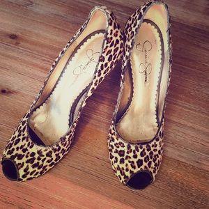 Jessica Simpson leopard peep toe pump